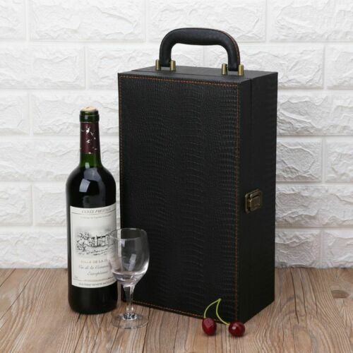 Wine Bottle Box Luxury Leather Bag 2 Red Wine Champagne Tote Carrier Travel Case 6
