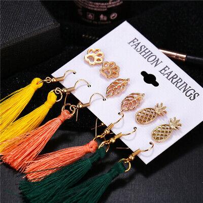 6Pairs Boho Tassel Crystal Pearl Earrings Set Women Ear Stud Dangle Jewelry Gift 12