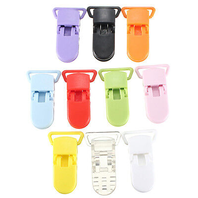 10pcs Colored Plastic Suspender Soother Pacifier Holder Dummy Clips For Baby New 2