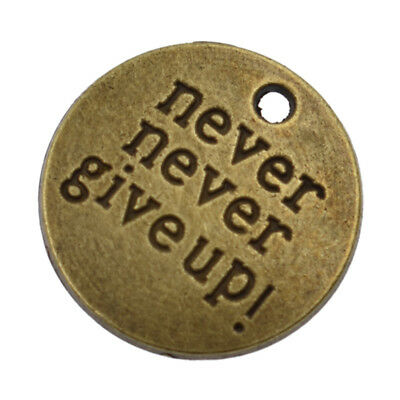 Antique Bronze Silver Charm Pendant Inspiration Quotes Words DIY Jewelry Gift 3