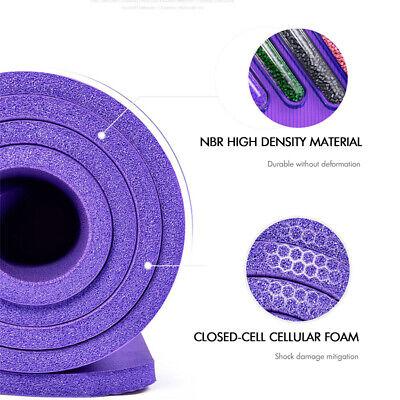 Extra Thick Yoga Mat 16mm Non Slip Exercise Pilates Gym Picnic Camping Straps UK 10