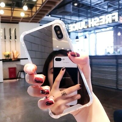 For iPhone 8 X 7 6S Plus XS Shockproof Armor Luxury Mirror Hard Back Case Cover 8