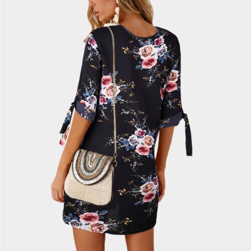 Women Floral Printed Long Tops Blouse Summer Beach Tunic Dress Plus Size 6-22 10