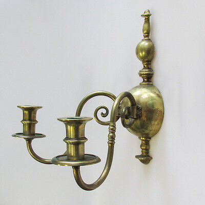 A Pair of Vintage Gilt Metal Wall Sconces Two-Light Candlestick Holders 3