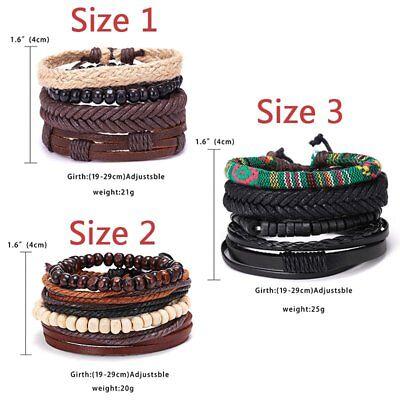 4Pcs Punk Multilayer Leather Bracelet Men's  Women Wristband Bangle Jewelry Set 8