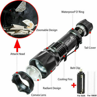 Ultrafire 350000LM Zoomable Tactical T6 LED Flashlight Torch Work Light Headlamp 6