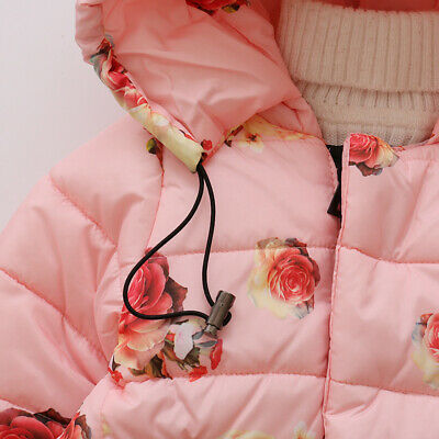 Toddler Baby Girls Floral Hooded Coat Outerwear Kids Jackets Warm Winter Clothes 7