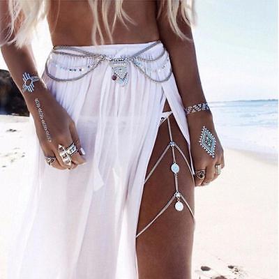 Charm Boho Silver Gold Multilayer Sequins Tassel Belt Waist Belly Body Chain HF 3
