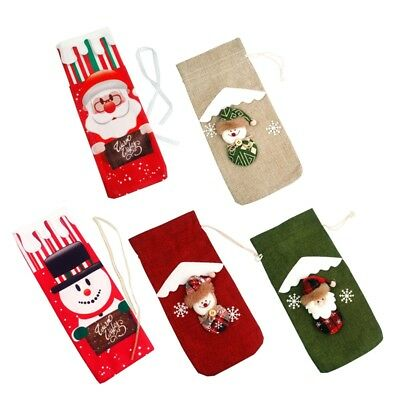 Red Wine Bottle Cover Bags Snowman Santa Claus Christmas Decoration Sequins New 6