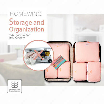 5Pcs Packing Cubes Travel Pouches Luggage Organiser Clothes Suitcase Storage Bag 6