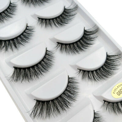 3D 5 Pairs Mink Natural Thick False Fake Eyelashes Eye Lashes Makeup Extension 4