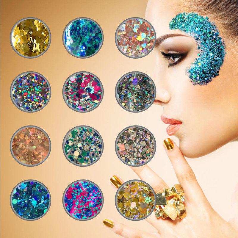 10g/bag Chunky Glitter Mixed Holographic Flake Body Art Nail Cosmetic Tattoo Art 4