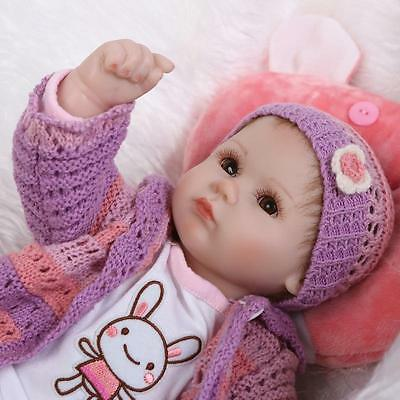 """18"""" Handmade Lifelike Reborn Doll Silicone Baby Girl Doll Vinyl Newborn Boy Doll 4"""