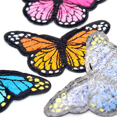 DIY 2PCS Embroidered Butterfly Applique Iron On Sew On Patch Clothing 4