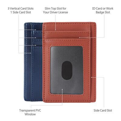 New Genuine Leather Slim Card Holder Wallets For Men - Minimalist RFID Blocking 3