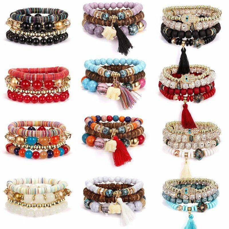 Boho Multilayer Natural Stone Bead Tassel Pendant Chain Bracelet Charm Women Set 3