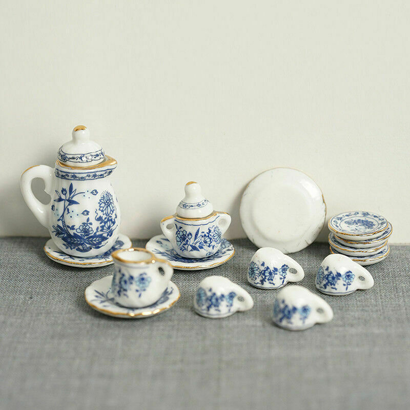 15Pcs Dining Ware Ceramic Blue Flower Set For 1:12 Miniatures Dollhouse A2X8 8
