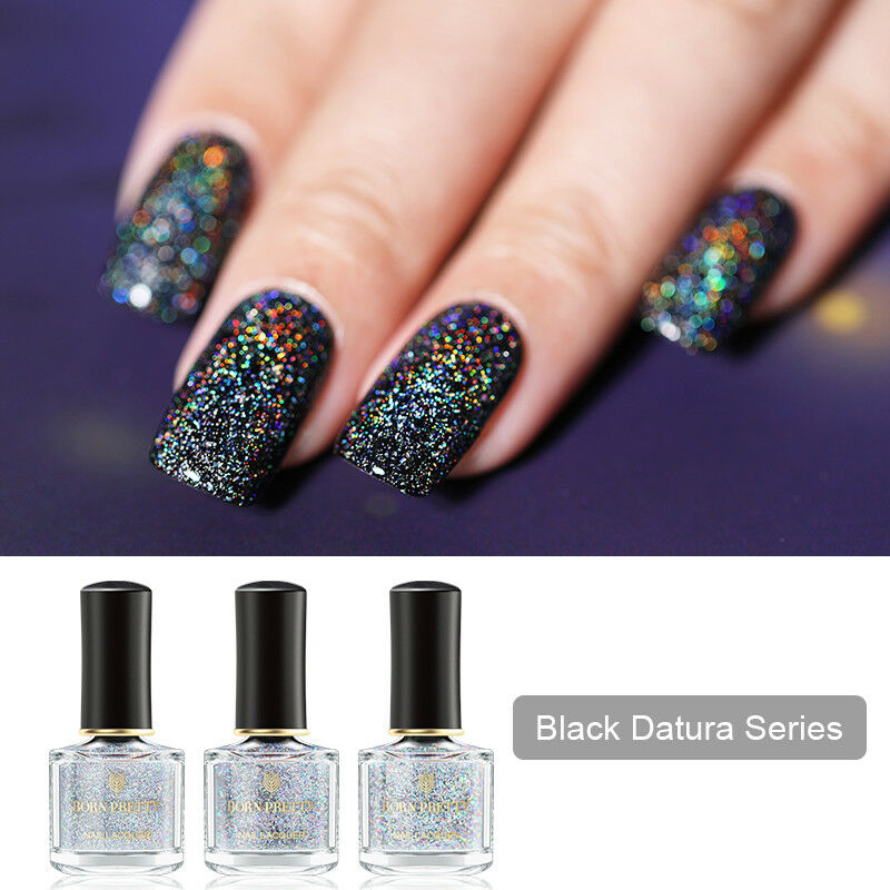 BORN PRETTY 6ml Sequined Holographic Top Coat Nail Polish Glitter Clear 5