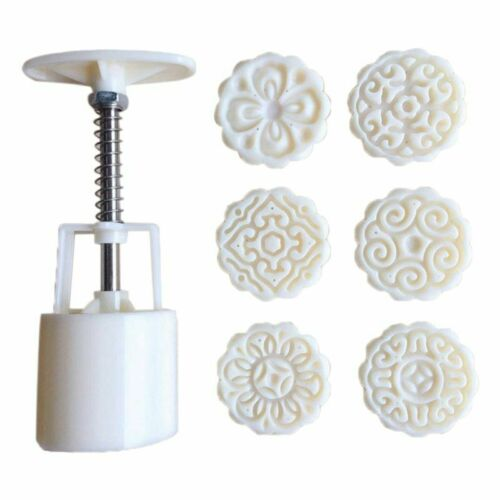 6 Flowers STAMPS Round Pastry Moon Cake Mold 50g Mould Cookies Mooncake Decor 7