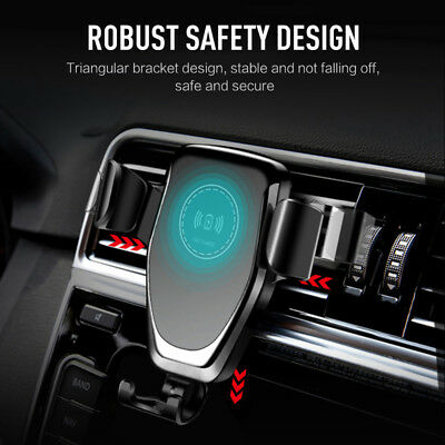 Qi Wireless Charger Car Air Vent Mount Holder For iPhone 8 MAX Samsung S8 S9 S10 2