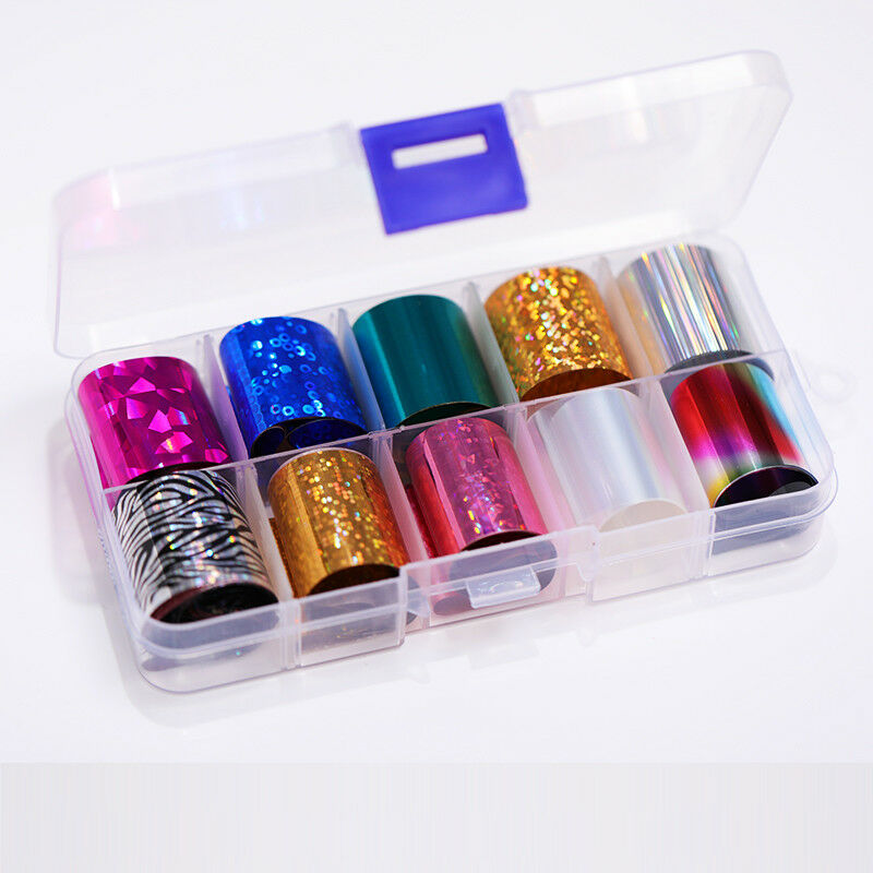 10 Rolls/Box Nail Foils Starry Sky Nail Art Transfer Mixed Pattern Stickers 5
