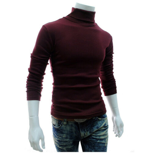 Men High Roll Turtle Neck Pullover Knitted Jumper Sweatshirt Tops Sweater Blouse