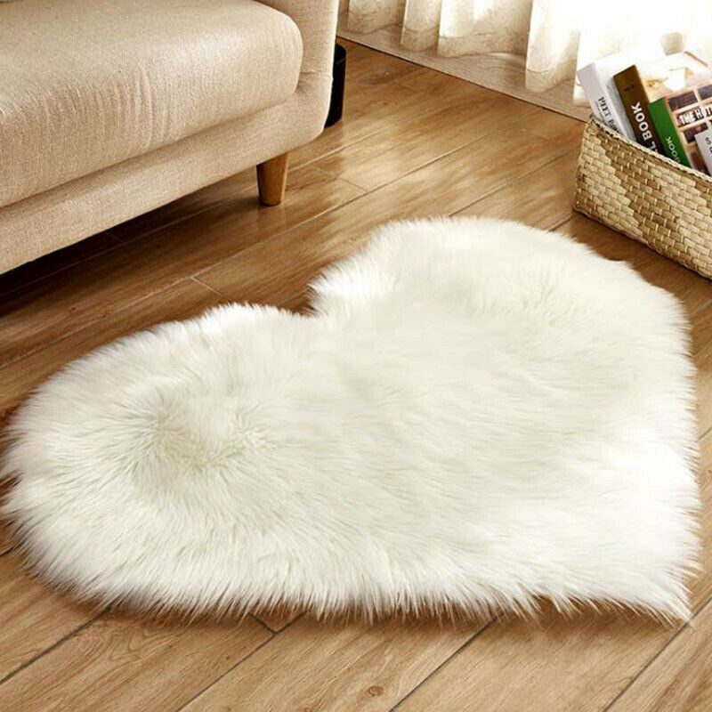 Heart Shaped Fluffy Rugs Anti-Skid Shaggy Area Rug Carpet Home Bedroom Floor Mat 5