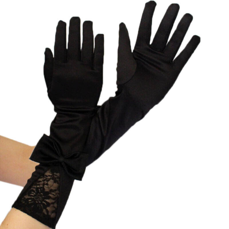 Women Black Lace Patchwork Satin Gloves Bowknot Sexy Clubwear Party Dance G RAS 3