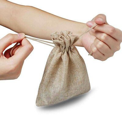 50pcs Small Burlap Jute Hessian Wedding Favor Gift Candy Bags Drawstring Pouches 10