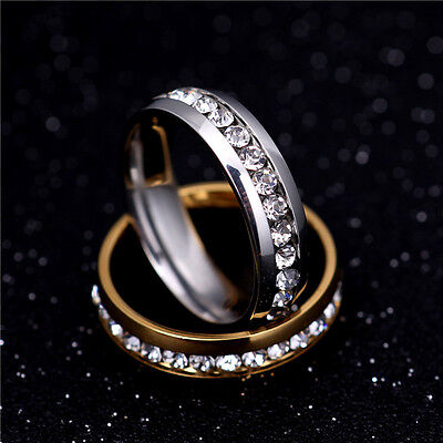 316L Stainless Steel Wedding Silver/Gold Band Men Women Couple CZ Ring Size 5-13 3