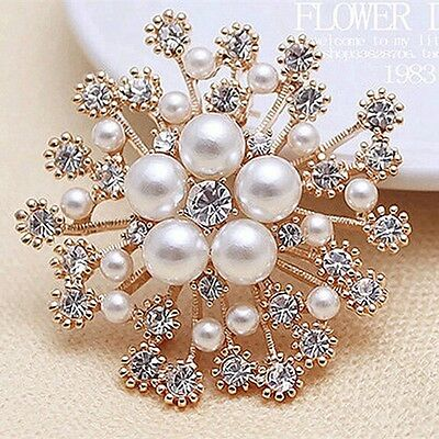 Vintage Gold Flower BROOCH Pin Crystal Rhinestone Bridal Pearl Broach Wedding 5