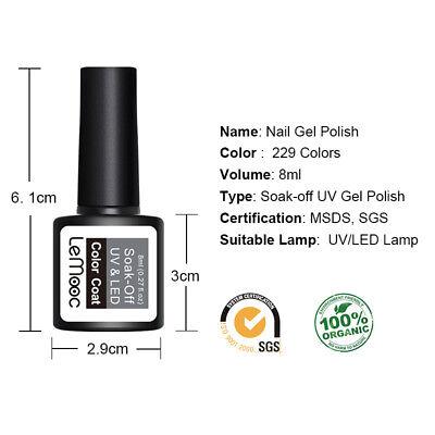 LEMOOC 8ml Nail UV Gel Polish Soak off Top Coat Base Coat Nail Art BUY 4 GET 4 2