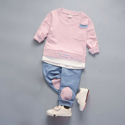 Kids toddler Baby boys girls outfits cotton tops+pants boys casual tracksuit 5