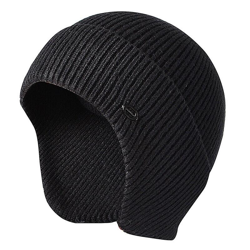 Uomo con Visiera Maglia Caldo Inverno Fodera Pile Cappello Berretto Paraorecchie 3