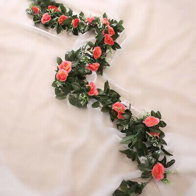 2.5m Artificial Flower Silk Rose Leaf Garland Vine Ivy Home Wedding Garden Deor 6