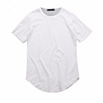 ... Men s Basic Extended Long T- Shirt Elongated Tee Fashion Casual Loose  Crew Neck 7 81f16b1f287c