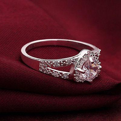 Cheap Fashion Silver Plated Women Crystal Wedding Bridal Lady heart Ring 3