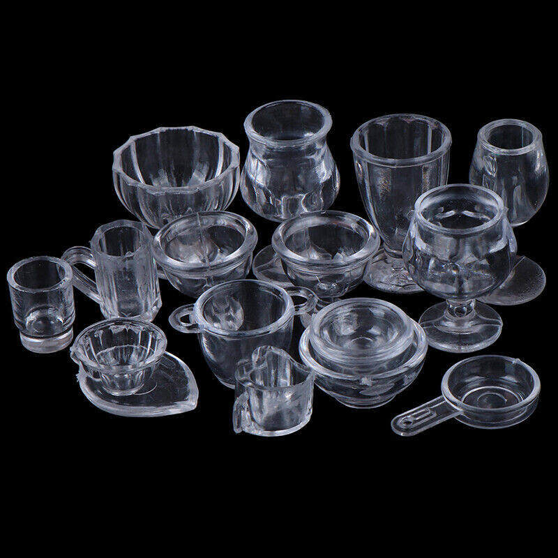 17Pcs/Set 1:12 Dollhouse Miniature Transparent Tableware DIY Pretend Play T IO 7