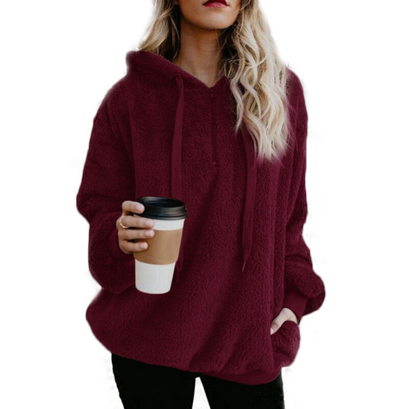 Womens Warm Fleece Hooded Sweatshrit Hoodies Winter Jumper Tops Coat Plus Size 9
