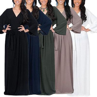 Women Deep V Neck long Sleeve Maxi Boho Dress Evening Party Dresses Plus Size