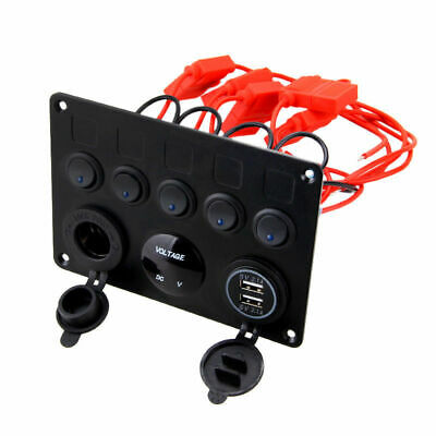 Car Boat 5 Gang ON-OFF Toggle Switch Panel 2USB 12V Fit Marine RV Truck Camper 5