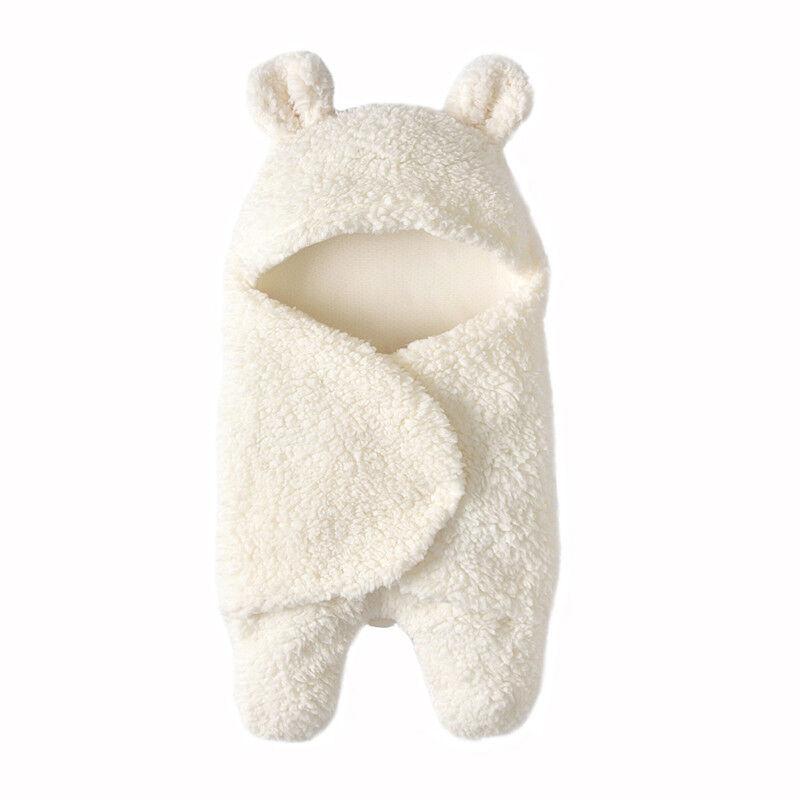 Neugeborene Baby Kuscheldecken Plüsch Warm Fleece Kapuze Decken Einschlagdecke