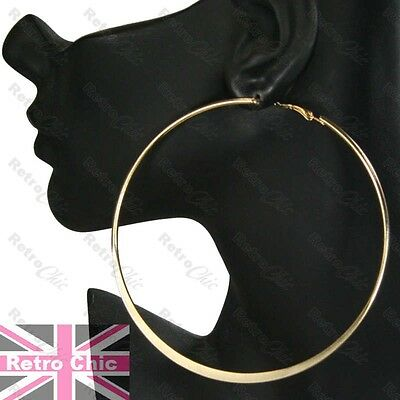 1 Of 6 4 Huge Hoop Earrings 10cm Gold Silver Fashion Giant Plain Hoops Metal Large