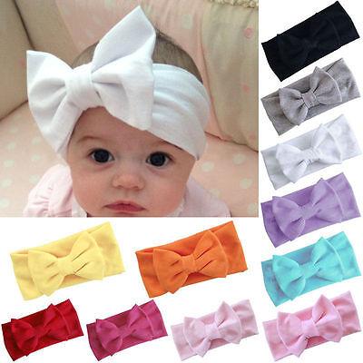 Girls Kids Baby Cotton Bow Hairband Headband Stretch Turban Knot Head Wrap New 4