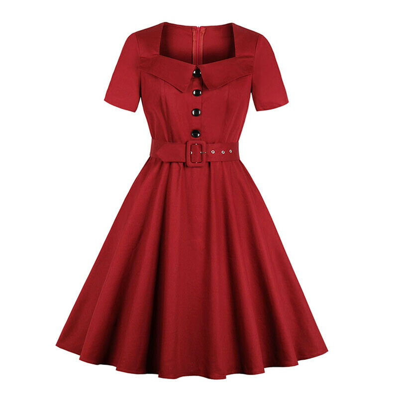 PLUS SIZE 1940S 50s Rockabilly Vintage Style Retro Womens Party Swing Belt  Dress