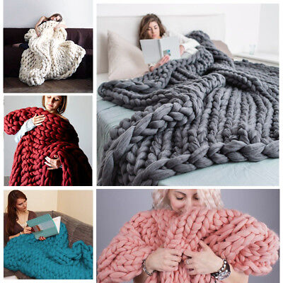 100*80 Soft Warm Hand Chunky Knit Blanket Thick Yarn Bulky Bed Spread Throw