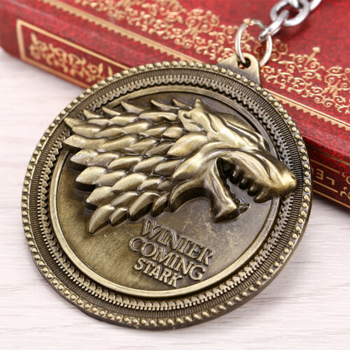 Game of Thrones House Stark Head Targaryen Baratheon 3D Metal Keyring Keychain 4