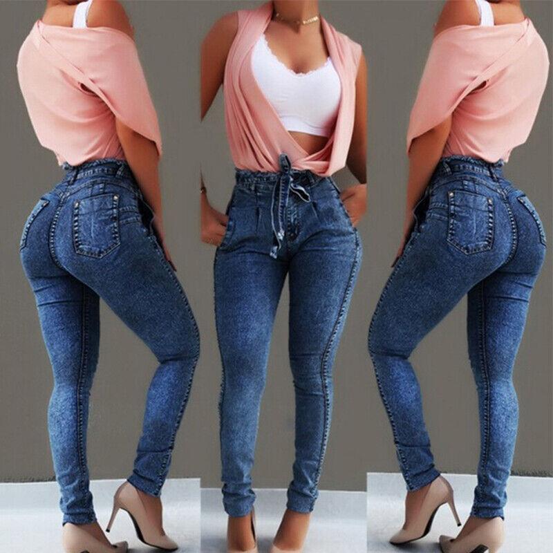 Haute Denim Élastique Taille Slim Style Pantalon Femmes Jean Coupe 4qcS3ARj5L