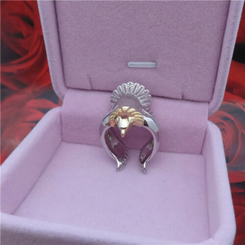 Women Ring Silver Color Long Angel Eagle Bird Wing Adjustable Band Jewelry RU 8