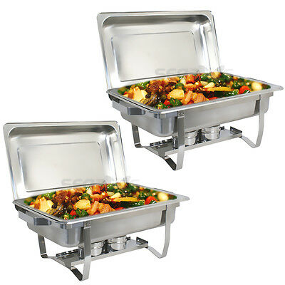 Chafing Dish Set Of 2 8 Quart Stainless Steel Tray Buffet Catering Warming